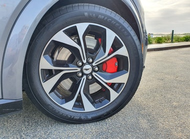 Ford Mustang Mach-E First Edition AWD Carbonized Gray wheel close-up