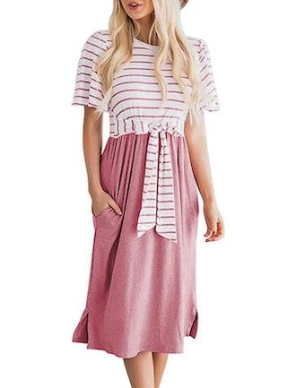 MEROKEETY Tie Waist Midi Dress