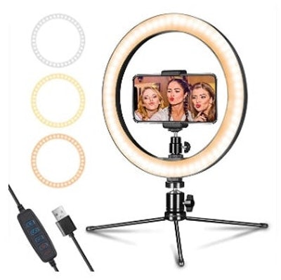"""LED Ring Light 10"""" with Tripod Stand & Phone Holder"""