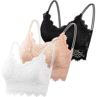 PAXCOO Lace Spaghetti Strap Bralettes (3-Pack)