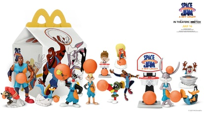 line up of McDonald's new Space Jam Happy Meal toys