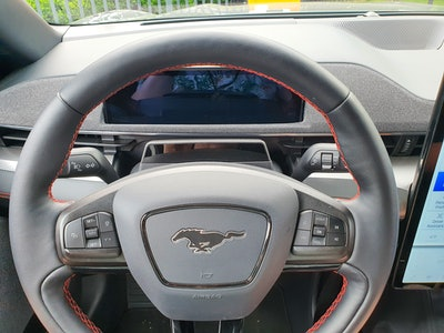 Ford Mustang Mach-E First Edition AWD Carbonized Gray steering wheel