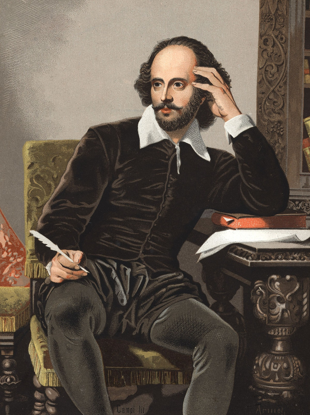 Portrait of William Shakespeare looking spry and intellectual.