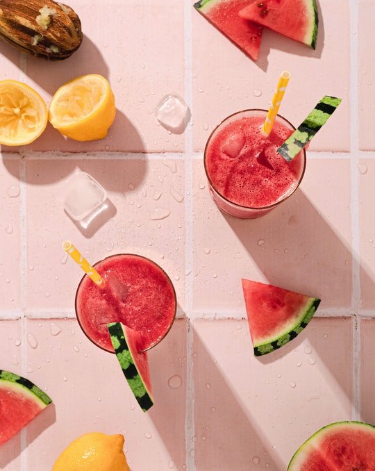 Top-view of smoothies with watermelon garnishes
