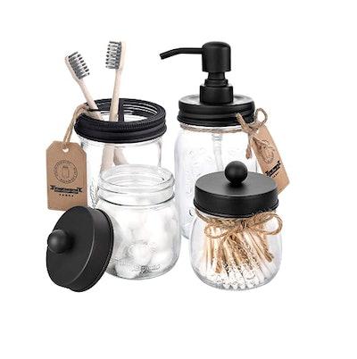 Mason Jar Bathroom Accessories Set (4-Piece)