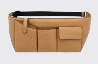 Leather Pouch Belt Bag In Light Brown
