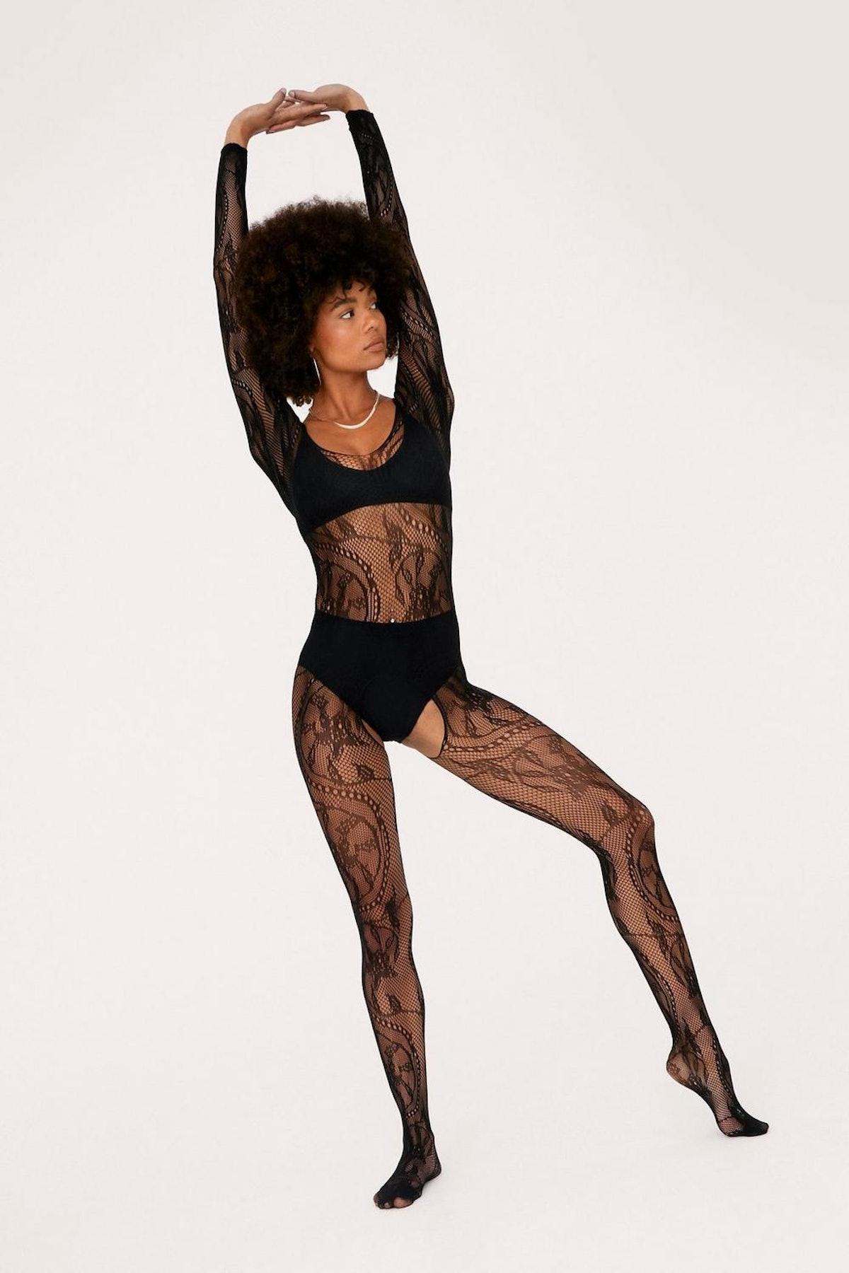Nasty Gal x Tayce Mesh Lace Crotchless Body Stocking