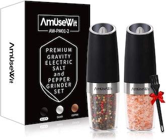 AmuseWit Gravity Electric Salt and Pepper Grinder (Set of 2)