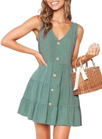 MITILLY Summer Sleeveless V Neck Button Down Pocket Dress