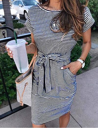MEROKEETY Summer Striped T-Shirt Dress