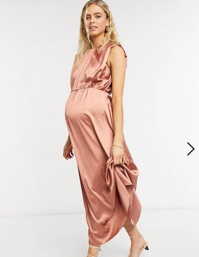 ASOS DESIGN Maternity Satin Midi Skater Dress In Blush