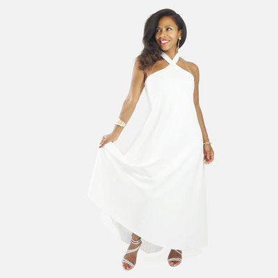 LaDiwithaBaBy White Halter Maternity-Friendly Dress