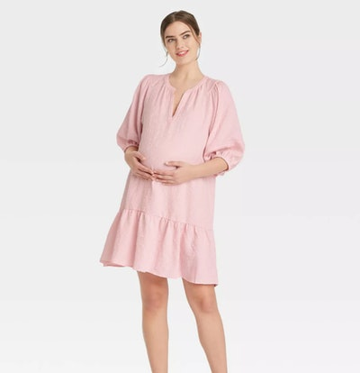 The Nines by HATCH Puff 3/4 Sleeve Maternity Dress in Pink