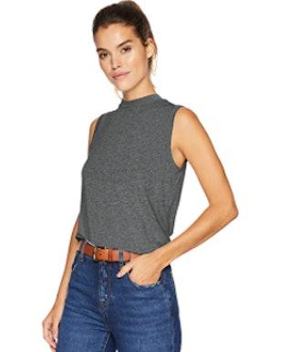 Daily Ritual Jersey Sleeveless Mock-Neck Shirt
