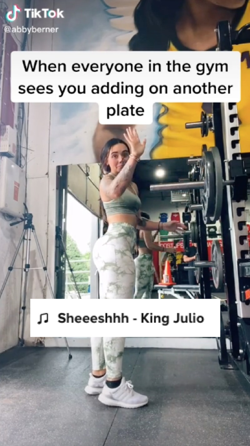 """A TikTok where a user adds another plate to a weight, where the sound is """"sheesh."""" What does """"sheesh..."""