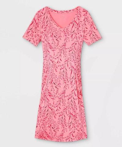 Isabel Maternity by Ingrid & Isabel, Short Sleeve Side Shirred Maternity Dress in Pink Floral