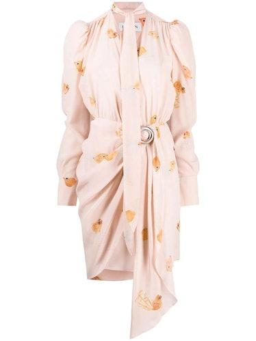 Fish Print Silk Wrap Dress