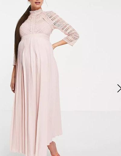 Little Mistress Maternity Lace Detail Midaxi Dress in Blush