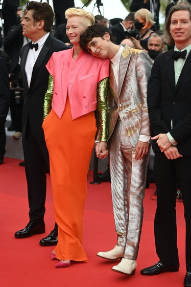 Tilda Swinton and Timothée Chalamet at The French Dispatch's Cannes Film Festival premiere