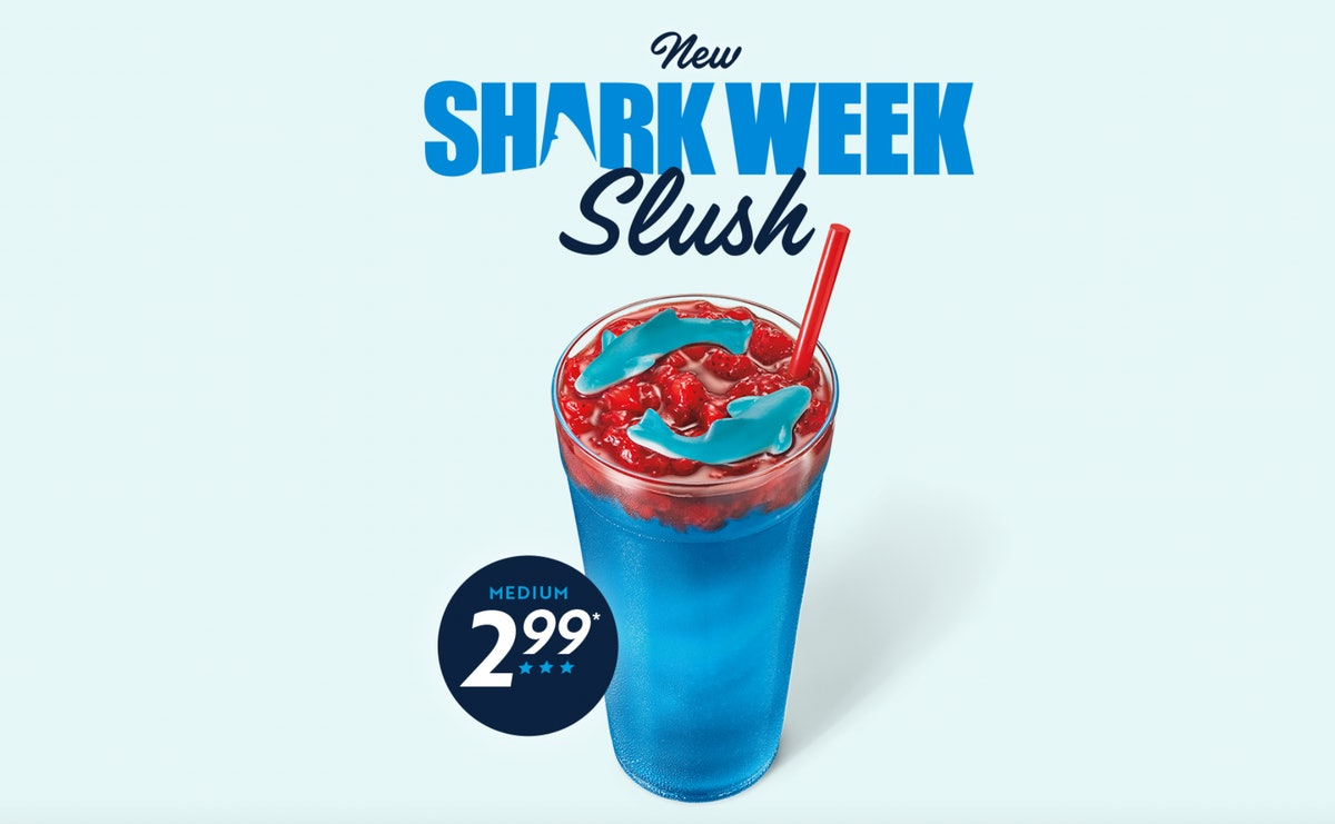 Sonic's Slush for Shark Week 2021 is a coconut treat with gummies.
