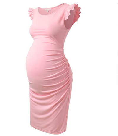 Bhome Maternity Dress Flying Sleeve Casual Pregnancy Summer Dresses in Pink