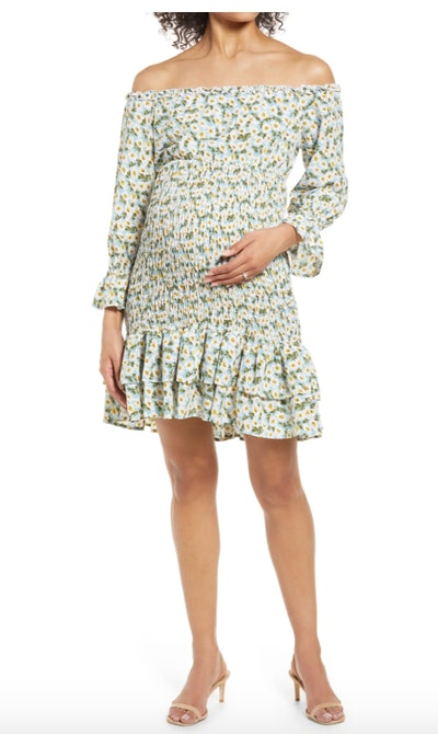 Savi Mom Daisy Flora Off the Shoulder Ruffle Maternity Dress