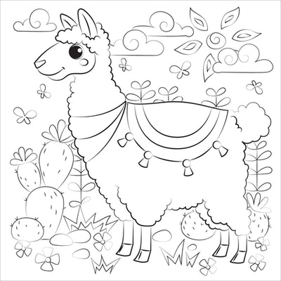 a kids coloring page featuring a cartoon llama with big eyes, wearing a blanket