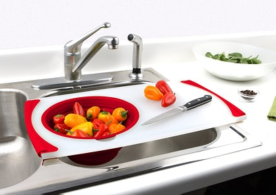 Dexas Cutting Board with Strainer
