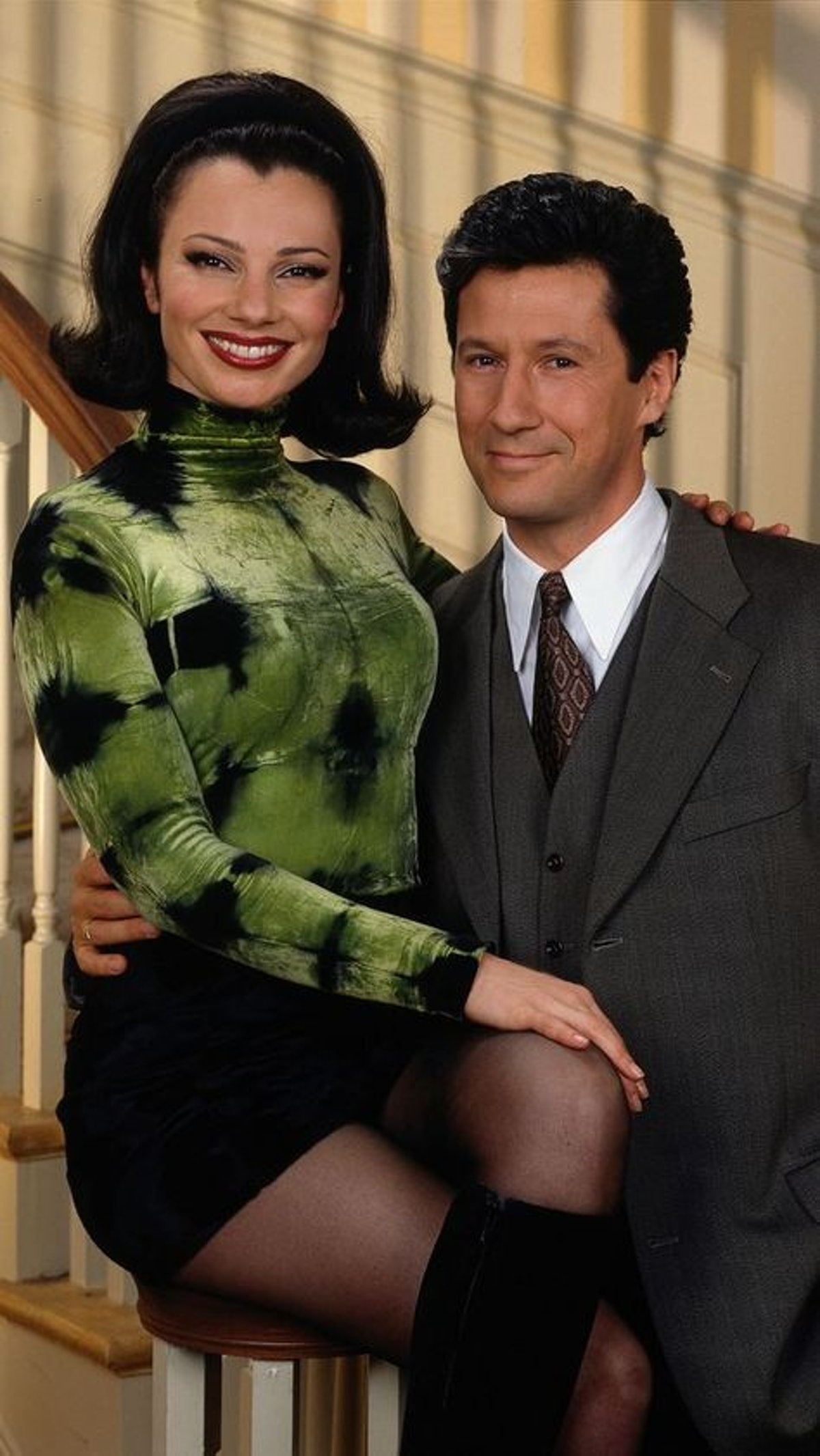 The Nanny's Fran Fine wearing a green and black tie-dye turtleneck and black mini skirt, styled by B...