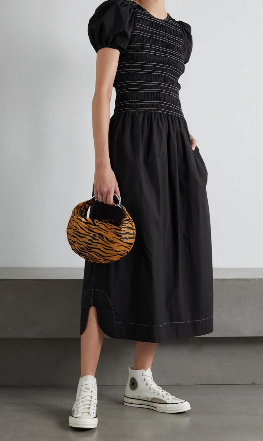 Smocked Organic Cotton-Poplin Midi Dress
