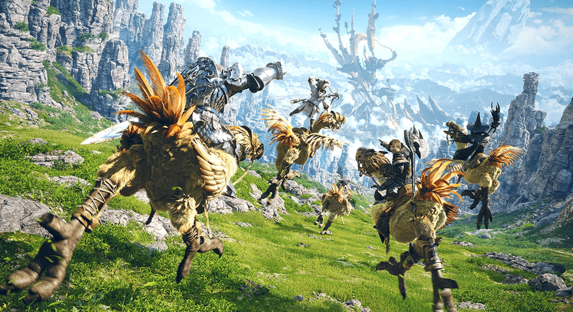 Final Fantasy 14 chocobos running through field