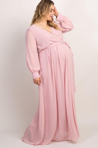 Light Pink Chiffon Long Sleeve Pleated Plus Maternity Maxi Dress