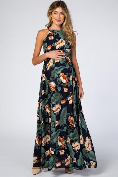 Navy Blue Palm Print Cross Back Maternity Maxi Dress