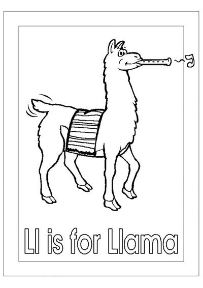 """a kids coloring page featuring a llama playing an woodwind instrument with the words """"ll is for llam..."""