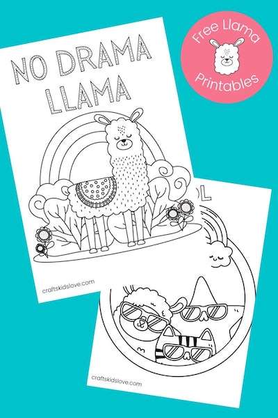"""a kids coloring page featuring a cartoon llama with rainbow and the words """"no drama llama"""""""