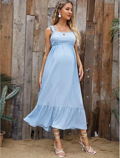 SHEIN Maternity Frill Trim Strap Tied Backless Dress