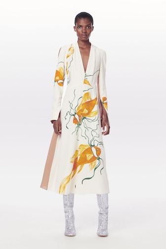 Open Shoulder V Neck Midi Dress
