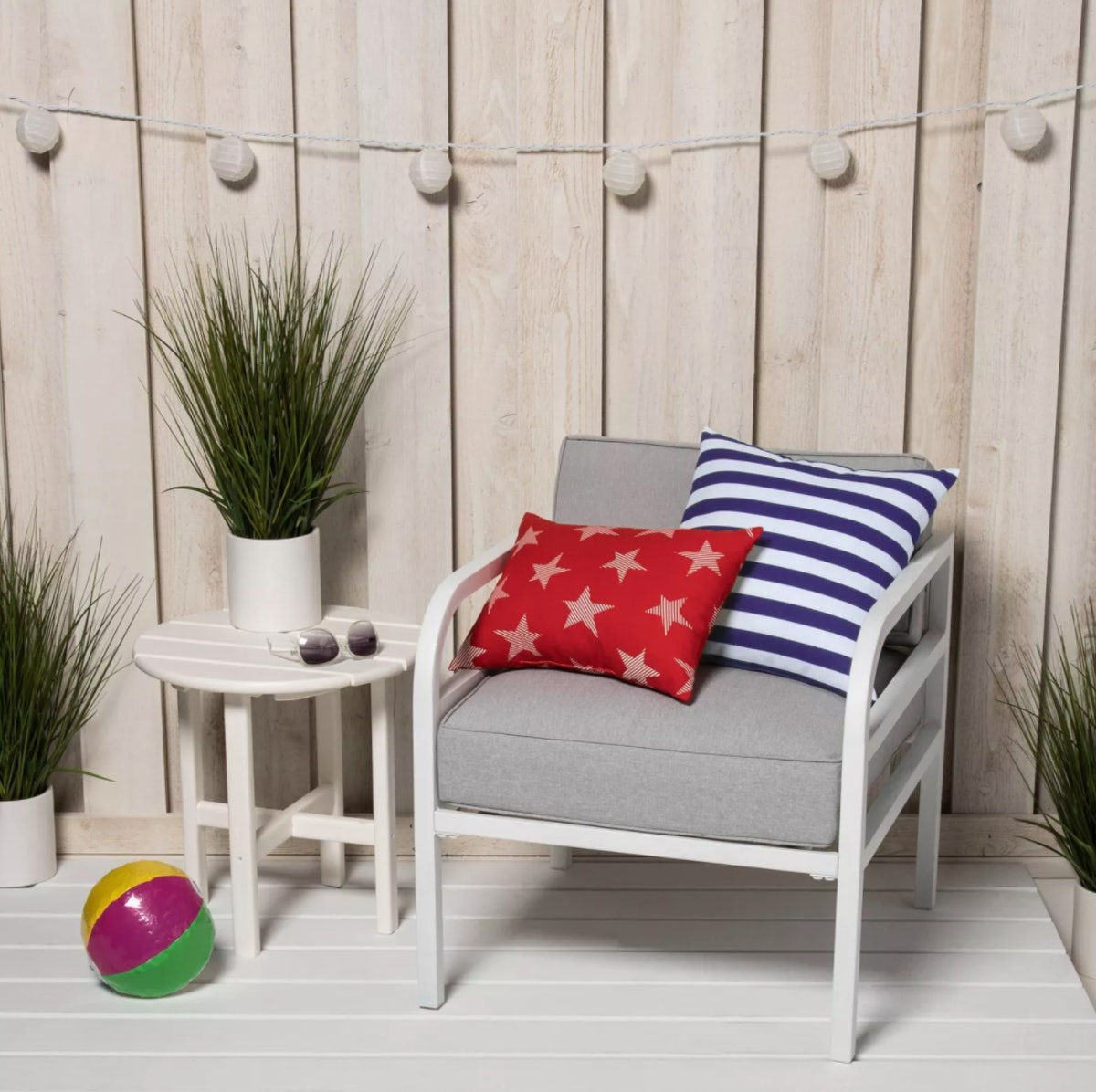 Indoor/Outdoor Striped Throw Pillow Navy/White - Sun Squad™