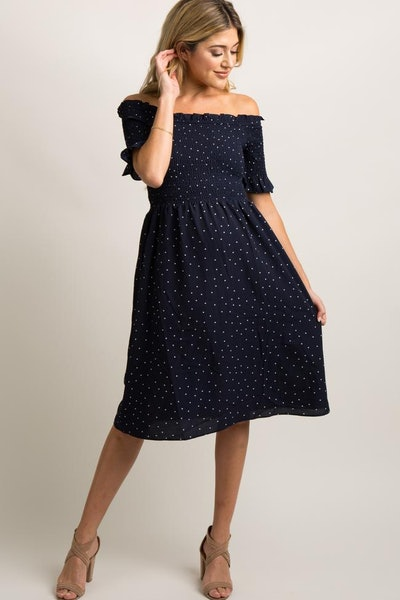 Navy Polka Dot Smocked Maternity Dress