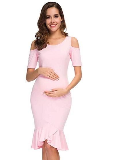 Ecavus Women's Maternity Dress in Pink
