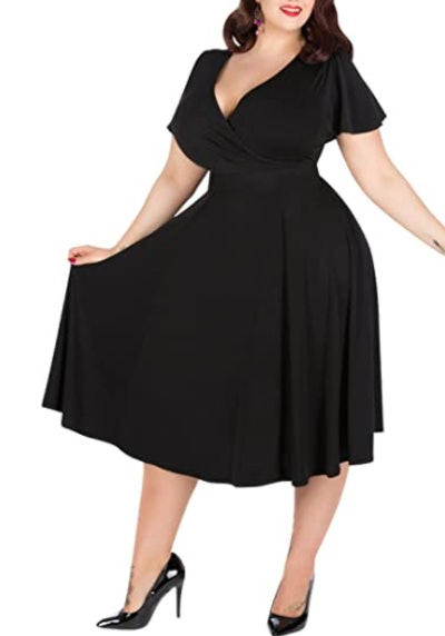 Nemidor Plus Size V-Neckline Midi Dress