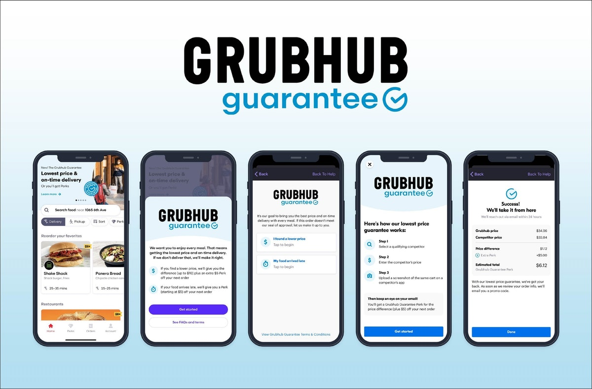 Grubhub's lowest-price and on-time delivery guarantees are clutch.