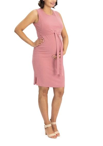 Angel Maternity Tie Up Maternity/Nursing Sheath Dress