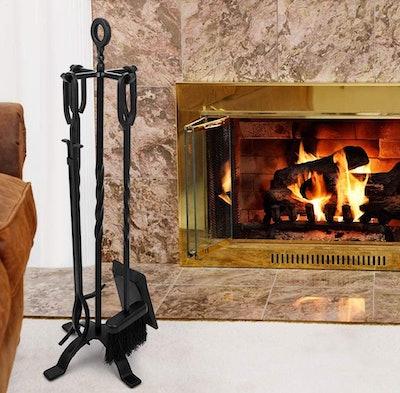 Amagabeli Wrought Iron Fireplace Tool Set (5 Pieces)
