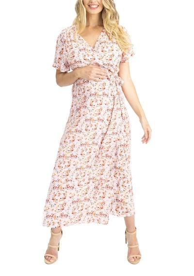 Angel Maternity Floral Maternity/Nursing Wrap Dress