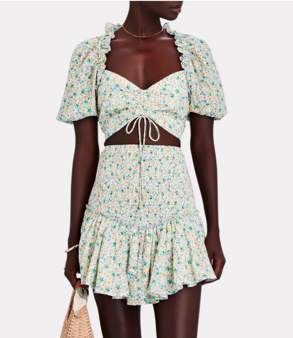 Paloma Smocked Floral Cotton Skirt