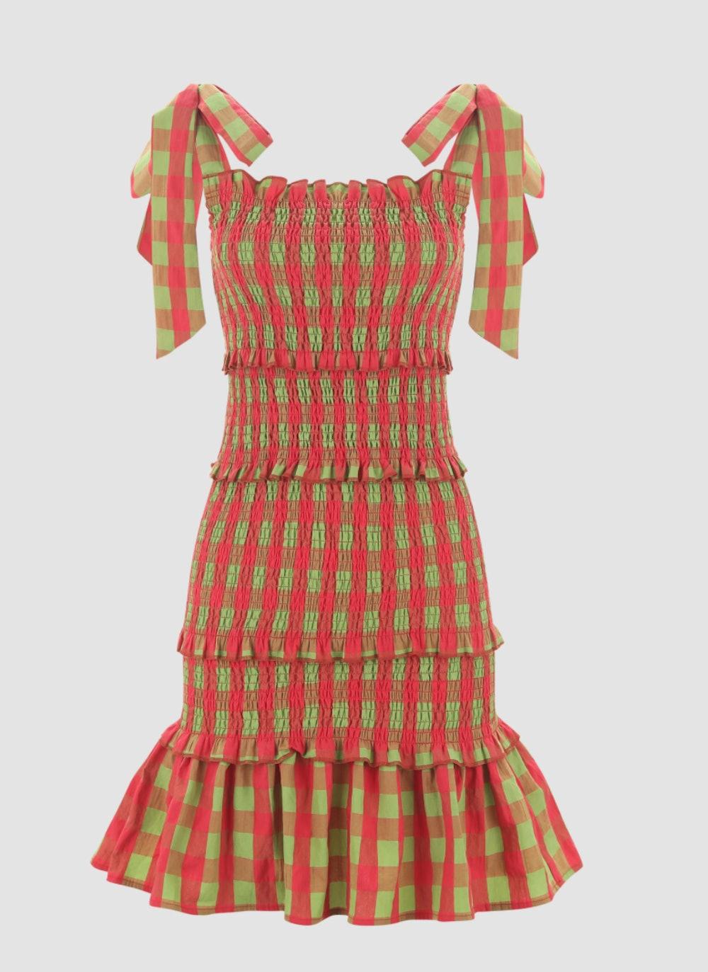 Ruffled Check Shirred Maxi Dress
