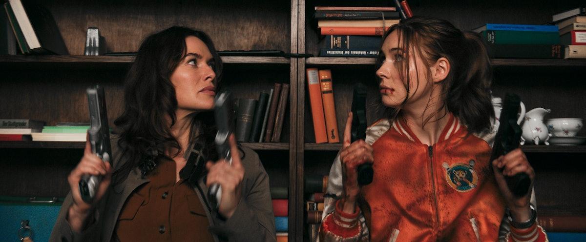 Lena Headey and Karen Gillan in Gunpowder Milkshake on Netflix.