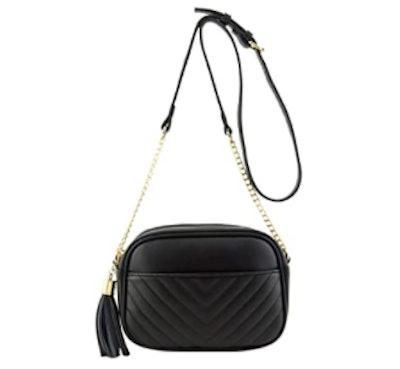 FashionPuzzle Chevron Quilted Crossbody Bag