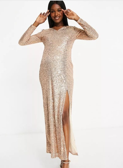 Jaded Rose Maternity Sequin Plunge Maxi With Thigh Split